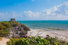 God of Winds Temple on turquoise Caribbean sea. Ancient Mayan ruins in Tulum, Mexico, Yucatan.  stock images