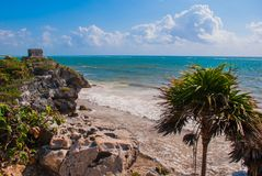God of Winds Temple on turquoise Caribbean sea. Ancient Mayan ruins in Tulum, Mexico, Yucatan.  royalty free stock photo