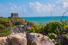 God of Winds Temple on turquoise Caribbean sea. Ancient Mayan ruins in Tulum, Mexico, Yucatan.  stock photos