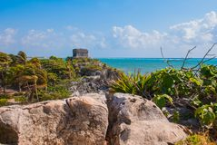 God of Winds Temple on turquoise Caribbean sea. Ancient Mayan ruins in Tulum, Mexico, Yucatan.  stock photography