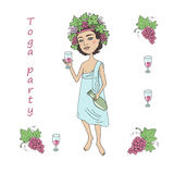 God of wine Bacchus with a glass of wine in hand. Invitation to toga party Royalty Free Stock Photo