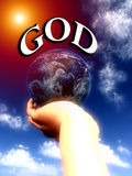 God the World In His Hands 2. A conceptual religious image showing god protecting and holding the world in his hand Stock Photo