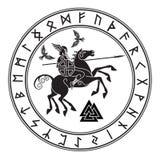 God Wotan, die op een paard Sleipnir met spear en twee raven in een cirkel van Norse runen berijden Illustratie van Norse royalty-vrije illustratie
