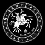 God Wotan, riding on a horse Sleipnir with a spear and two ravens in a circle of Norse runes. Illustration of Norse. Mythology, isolated on black, vector Stock Photos