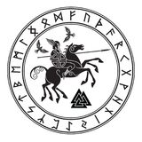 God Wotan, riding on a horse Sleipnir with a spear and two ravens in a circle of Norse runes. Illustration of Norse. Mythology, isolated on white, vector Stock Images