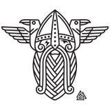 God Wotan and two ravens. Illustration of Norse mythology. Isolated on white, vector illustration Stock Images