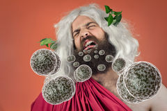 God Zeus Bacteria. Bacteria virus sickness pouring out sick god zeus jupiters open mouth Royalty Free Stock Image