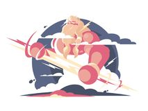 God Zeus in heaven. With lightning in hands. Vector illustration Stock Photo