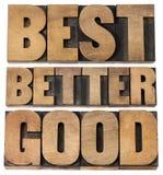 Goda bättre mest bra typografi royaltyfri bild