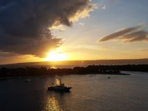 Goda del tramonto in Vanautu immagini stock