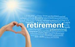 Goda del vostro pensionamento alla nuvola di parola completa Fotografia Stock