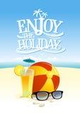 Goda della carta di citazione di festa con il contesto della spiaggia Fotografia Stock