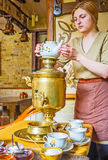Goda della cerimonia di tè russa Immagini Stock Libere da Diritti