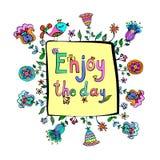 Goda della citazione di motivazione del giorno con il fondo sveglio floreale di scarabocchio Fotografia Stock