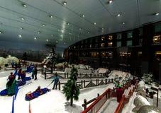 Goda della neve nel deserto a Ski Dubai Immagini Stock