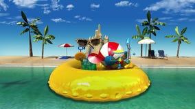 Goda della vacanza di festa nel concetto tropicale della spiaggia royalty illustrazione gratis
