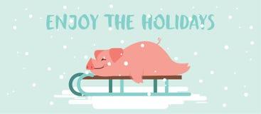 Goda delle feste Maiale pigro sveglio che si trova su uno scorrevole di inverno Buon Natale e progettazione di vettore del buon a fotografia stock