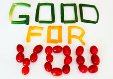 Goda för dig tecken: salladslökar gulingpeppar, druvatomater Fotografering för Bildbyråer