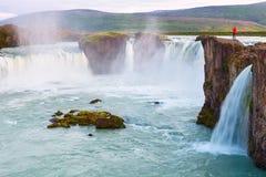Godafoss瀑布在Myvatn,冰岛 免版税库存图片