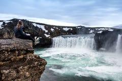 Godafoss är en av de mest härliga vattenfallen på Island arkivbild