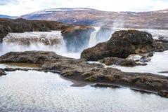 Godafoss, cascade à écriture ligne par ligne en Islande. Photos stock