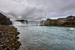 Godafoss, cascata dei, paesaggio in Islanda ad alba Fotografie Stock
