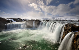 Godafoss falls. On iceland in winter Royalty Free Stock Images
