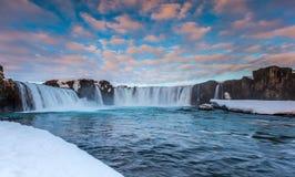 Godafoss falls in winter, Iceland Stock Image