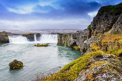 Godafoss, Iceland. In the cloudy day Royalty Free Stock Images