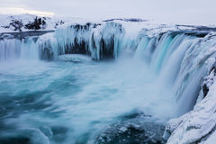 Godafoss siklawy zimy krajobraz Zdjęcie Royalty Free