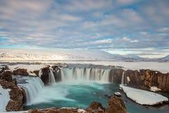 Godafoss spadek w ranku, Iceland Obraz Royalty Free