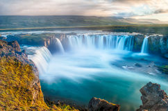 Godafoss. Is a very beautiful Icelandic waterfall. It is located on the North of the island not far from the lake Myvatn and the Ring Road. This photo is taken