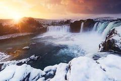Godafoss während des Winters, Island Lizenzfreie Stockfotografie