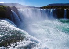 Godafoss waterfall in Iceland without people. Godafoss waterfall (Iceland) closeup as close as you can get without helicopter royalty free stock photos