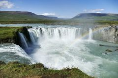 Godafoss waterfall on a glorious day with rainbow, Iceland stock image