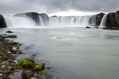 Godafoss (waterfall of the gods) captured from the shore, Icelan Royalty Free Stock Photo