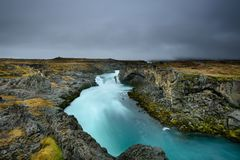 Godafoss, waterfall of the gods, is one of the most spectacular waterfalls in Iceland Stock Image