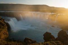 Godafoss. The waterfall Godafoss -Iceland - sunset Royalty Free Stock Photography