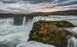 Godafoss Waterfall in Iceland at Sunset Royalty Free Stock Images
