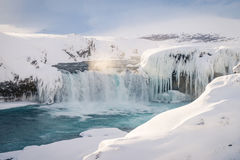 Godafoss waterfall in Iceland during winter stock photography