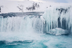 Godafoss waterfall in Iceland during winter. Photo of the Godafoss waterfall in winter Iceland Stock Photo