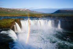 Godafoss waterfall and rainbow, Iceland Landscape stock photos