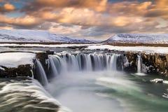 Godafoss waterfall at sunset on Skjalfandafljot river, Iceland
