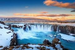 Godafoss waterfall at sunset in winter, Iceland.  stock photo