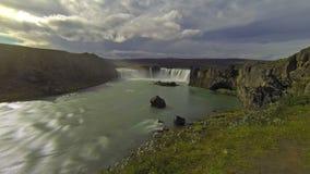 Godafoss waterfall stock video footage