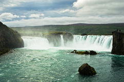 Godafoss waterfall or waterfall of the gods, north Iceland Royalty Free Stock Images
