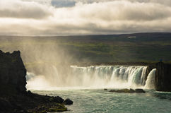 Godafoss waterfall or waterfall of the gods, north Iceland Stock Photos