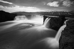 Godafoss waterfalls - in Iceland, BW Royalty Free Stock Images