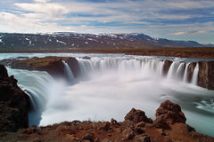 Godafoss waterfalls with mountain in Iceland Stock Photography