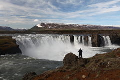 Godafoss waterfalls with mountain in Iceland Stock Photos
